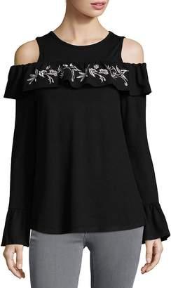 August Silk Women's Ruffle Cold Shoulder Blouse