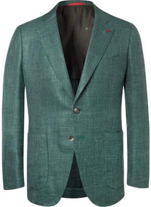 Isaia Forest-Green Sailor Wool, Silk And Linen-Blend Blazer