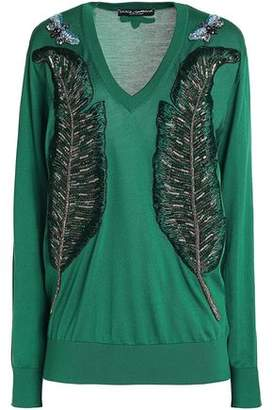 Dolce & Gabbana Appliquéd Silk Sweater