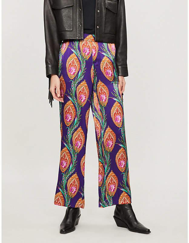 High-rise printed silk wide-leg trousers