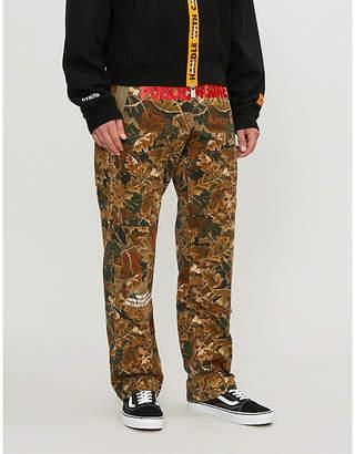 HERON PRESTON Leaf-print slim-fit straight jeans
