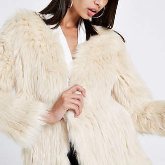 River Island Cream knitted faux fur coat