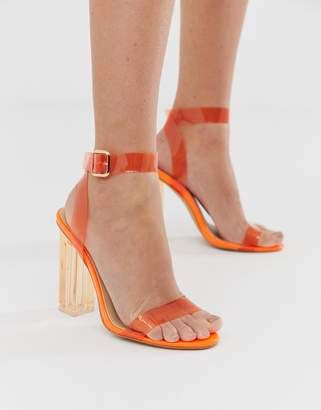 Public Desire Alia neon orange clear detail heeled sandals