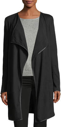 Zero Degrees Celsius Drape-Front Faux-Leather-Trim Cardigan