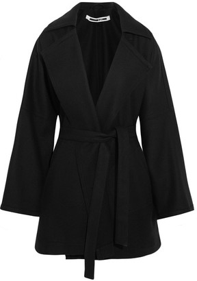McQ Alexander McQueen - Belted Wool-blend Felt Coat - Black $890 thestylecure.com