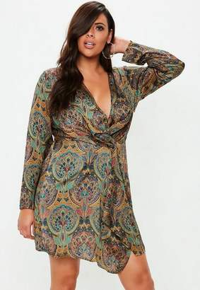 Missguided Plus Size Paisley Gathered Mini Dress