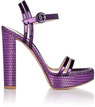 Gianvito Rossi Women's Specchio Leather & Textured Fabric Platform Sandals - Purple