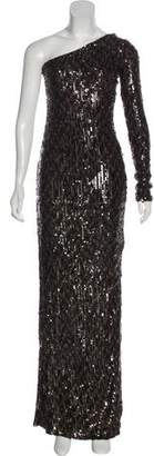 Rachel Zoe Sequined One-Shoulder Evening Dress w/ Tags
