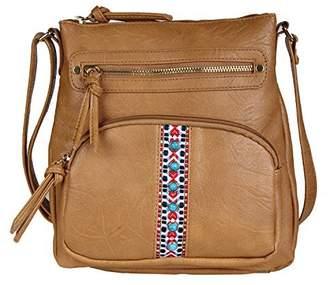 Co Folie Tribal Bohemian Crossbody Bag - Vegan Leather Hippie Sling Bucket Purse