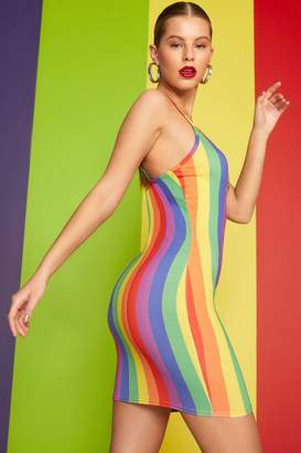 boohoo Rainbow Stripe O-Ring Dress