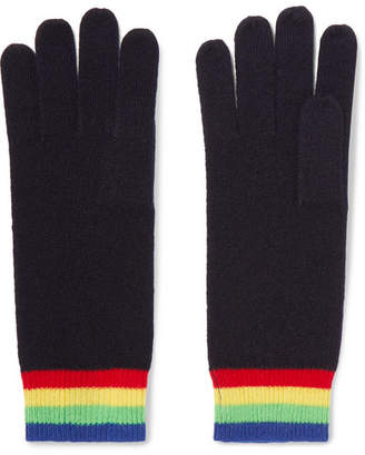 Madeleine Thompson Elba Striped Cashmere Gloves - Midnight blue
