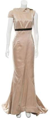 J. Mendel Silk Open Back Gown Champagne Silk Open Back Gown