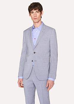 Paul Smith Men's Slim-Fit Grey Violet Wool Blazer