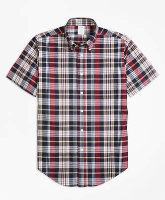 Brooks Brothers Milano Fit Madras Short-Sleeve Sport Shirt