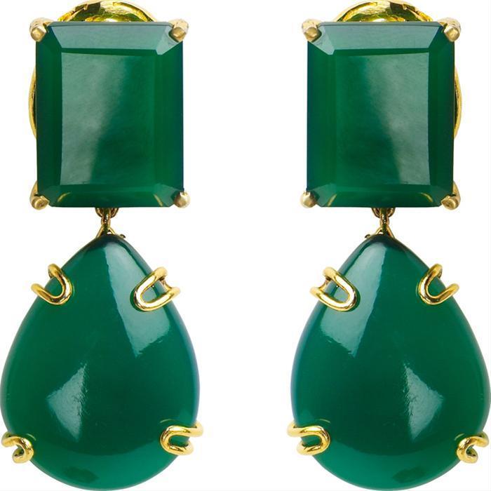 Green Onyx Drop Clip Earrings by Bounkit