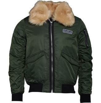 4469389d02 Brave Soul Mens Eastcott Oversized Fur Collar Aviator Jacket Khaki
