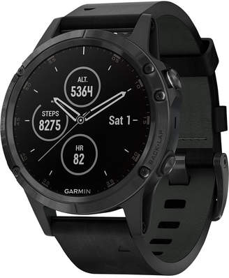 Garmin Unisex fenix 5 Plus Black Leather Strap Smart Watch 47mm