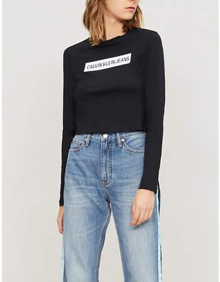 Calvin Klein Institutional cropped cotton-jersey T-shirt