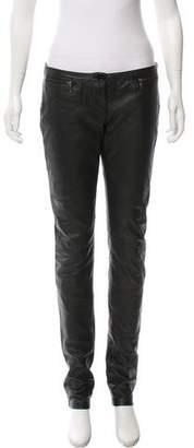 Armani Jeans Low-Rise Leather Pants
