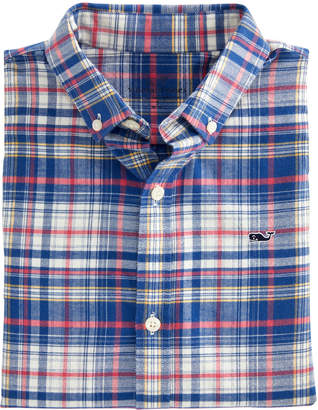 Vineyard Vines Boys Harpers Plaid Flannel Whale Shirt