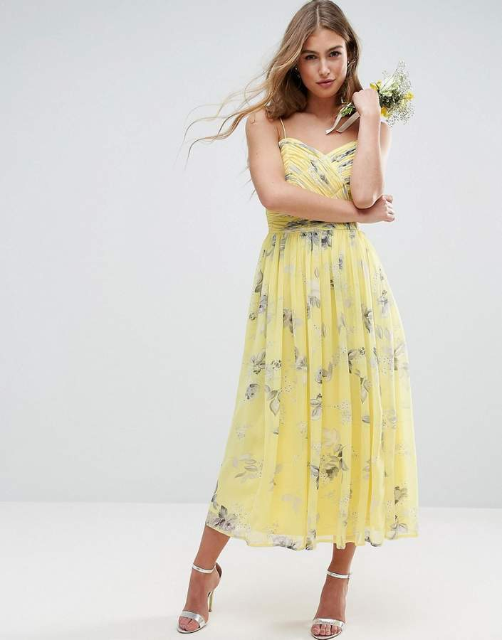 Asos ASOS WEDDING Rouched Midi Dress in Sunshine Floral Print