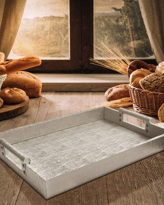 Jay Import Co Faux-Leather Serving Tray w/ Handles, Silver