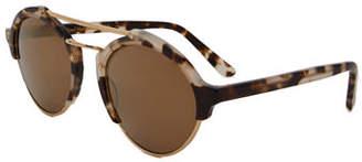 Illesteva Milan II Matte Monochromatic Round Sunglasses