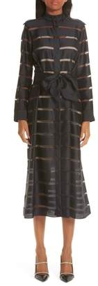 PARTOW Illusion Stripe Wool & Silk Dress