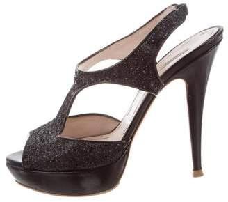 Miu Miu Glitter T-Strap Sandals