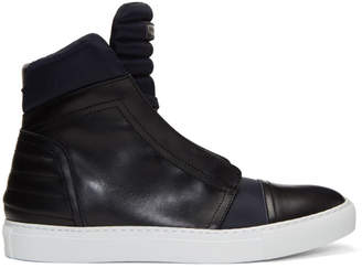 Diesel Black Gold Navy Leather and Nylon High-Top Sneakers