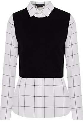 Alice + Olivia Lucinda Layered Knitted And Checked Silk Shirt