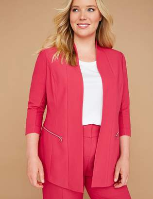 Lane Bryant Zip Pockets Tailored Stretch Jacket - Textured