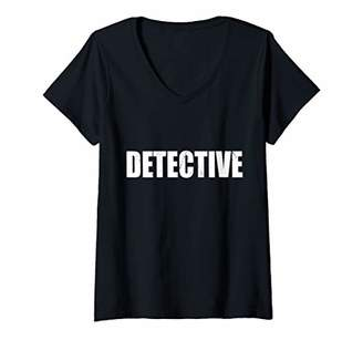 Womens Detective Funny Cute Lazy Easy Simple DIY Halloween Costume V-Neck T-Shirt