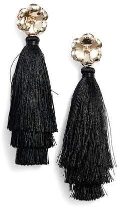 Halogen R Floral Tassel Drop Earrings