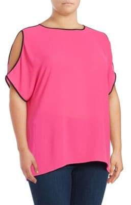 Vince Camuto Contrast Cold Shoulder Top