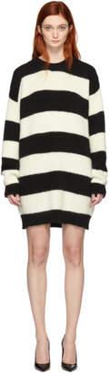 DSQUARED2 Black and White Alpaca Striped Pullover Dress
