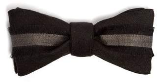 Title Of Work - Frayed Trim Silk And Linen Blend Bow Tie - Mens - Black Grey