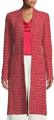 St. John Boucle Striped Knit Long Jacket