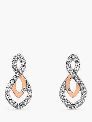 Hot Diamonds Two Tone White Topaz and Diamond Drop Earrings, Silver/Rose Gold