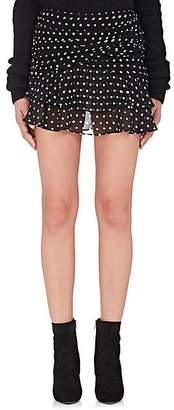 Saint Laurent Women's Polka Dot Gathered Miniskirt - Black