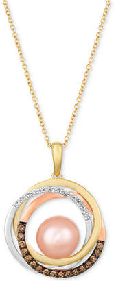 """LeVian Le Vian Cultured Freshwater Pink Pearl (9mm) & Diamond (1/3 ct. t.w.) 20"""" Pendant Necklace in 14k Gold, White Gold & Rose Gold"""
