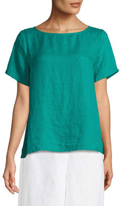 Eileen Fisher Organic Handkerchief Linen Short-Sleeve Top