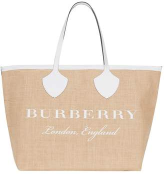 Burberry Giant Jute-Leather Tote Bag