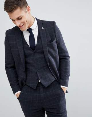 French Connection Brushed Flannel Slim Fit Tobacco Check Suit Jacket