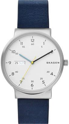 Skagen Men's Ancher Blue Leather Strap Watch 40mm