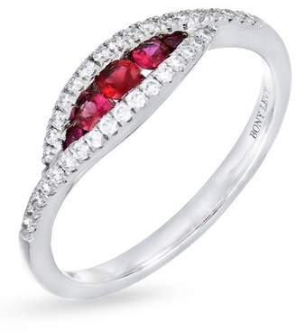 Bony Levy 18K White Gold Diamond & Ruby Evil Eye Ring - 0.17 ctw