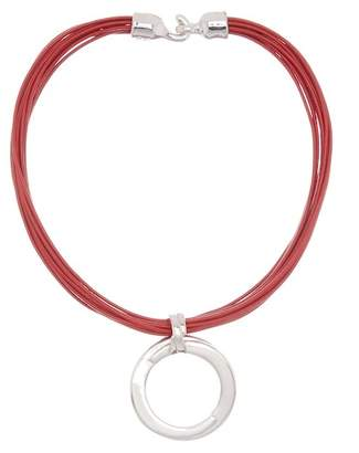 Simon Sebbag Sterling Silver Round Pendant & Multi Strand Leather Cord Necklace