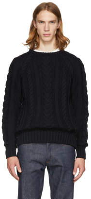 Thom Browne Navy Aran Cable Knit Stripe Raglan Sweater