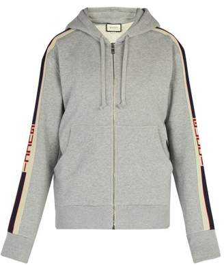 Gucci Logo Stripe Cotton Hooded Sweatshirt - Mens - Grey