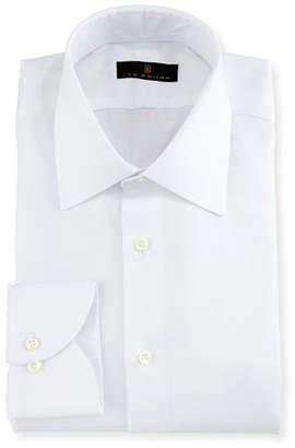 Ike Behar Gold Label Micro-Herringbone Dress Shirt, White